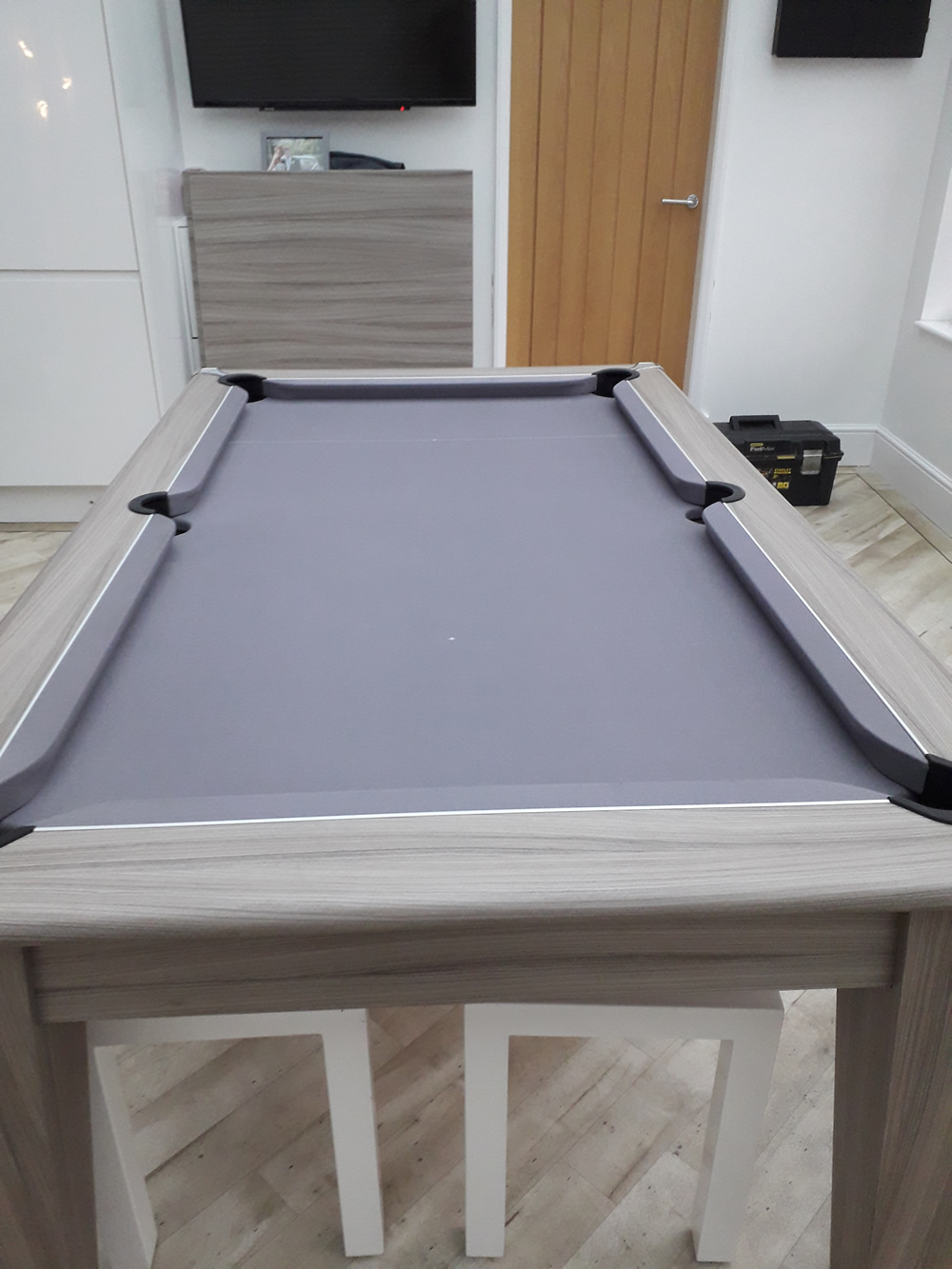 Gatley driftwood dining pool table recovered in silver cloth