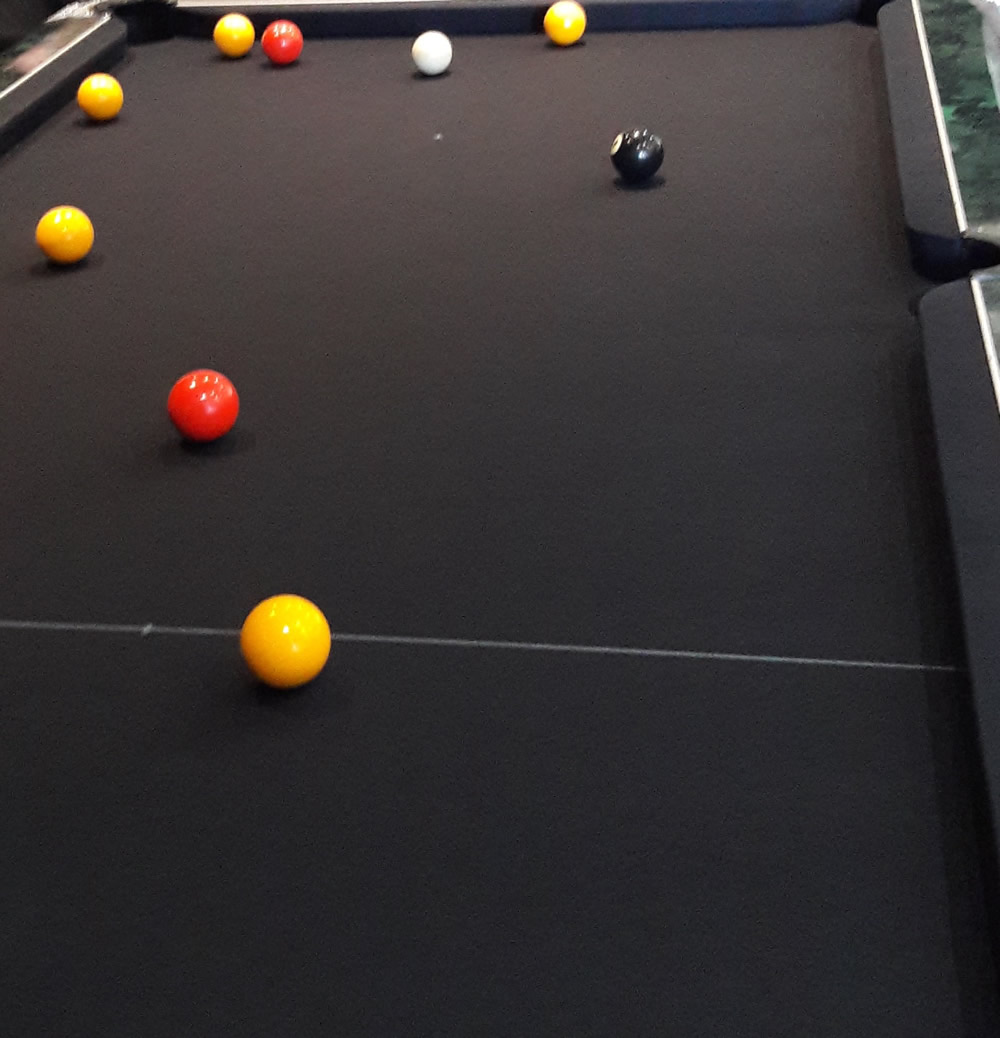 Pool tabler recovered in black speen cloth