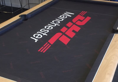 DHL custom design pool table expertertly recovered by IQ