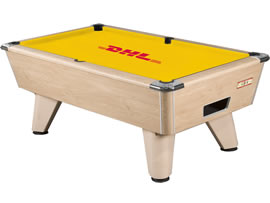 Supreme Winner pool table recovered in yellow DHL branded cloth