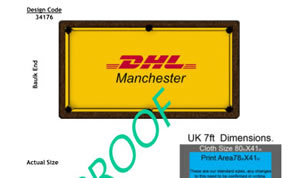 Proof for oak Winner pool table with custom DHL cloth in Manchester