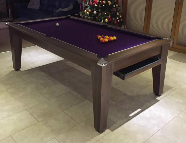 Recent recover of a 7ft walnut pool dining table in Doncaster