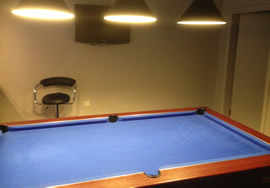 Pool table recovered in custom  cloth