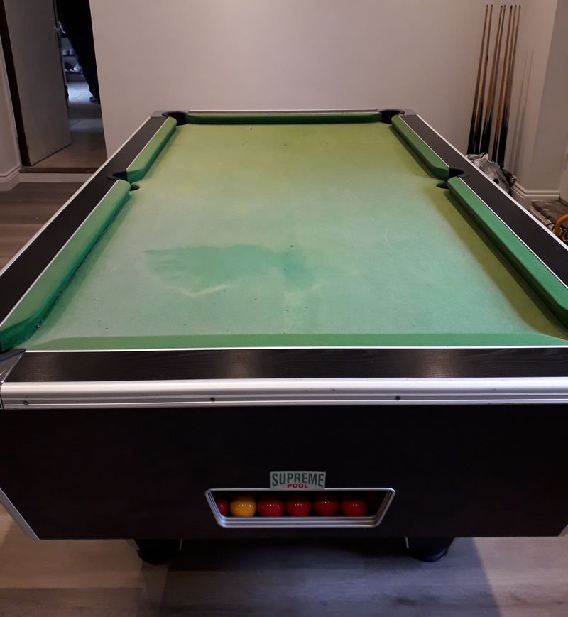 Supreme 7ft Green Pool Table in need of a recover