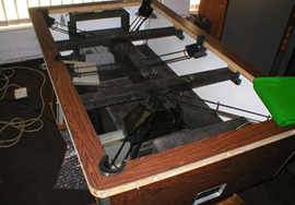 Exposed pool table during recover