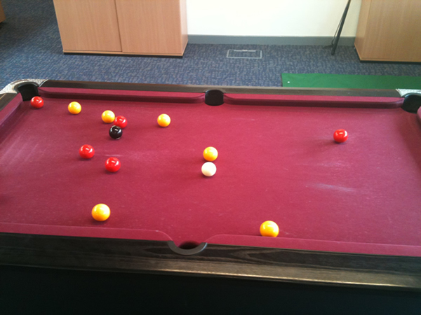 Red Pool Table Needing Complete Recover