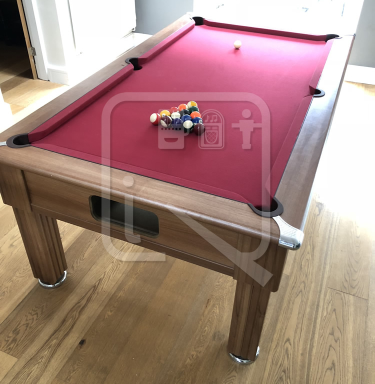 7ft Pool Table recovered in burgundy napped cloth