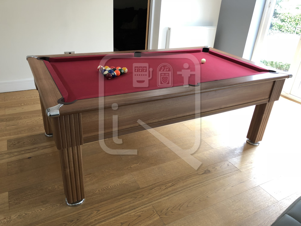 Gatley 7ft Pool Table recovered in burgundy  cloth