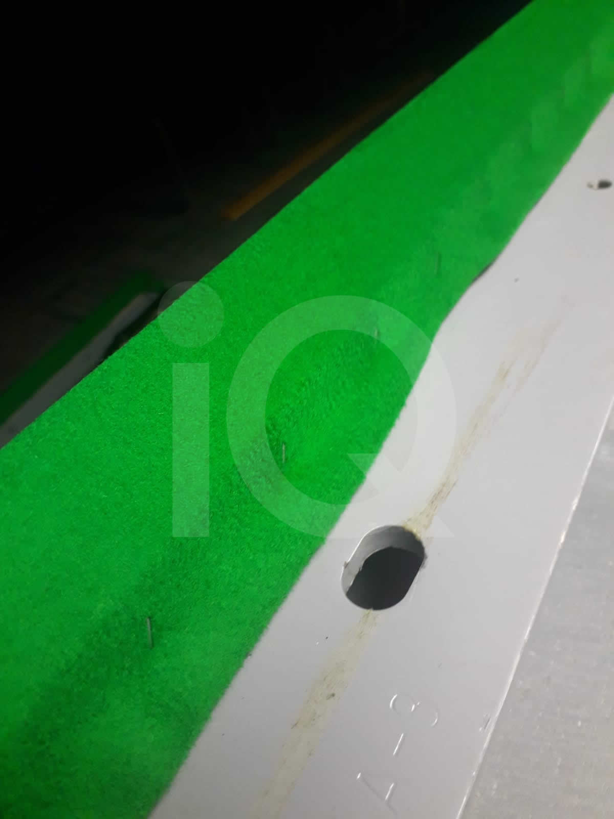 Snooker table cushion recover in green cloth