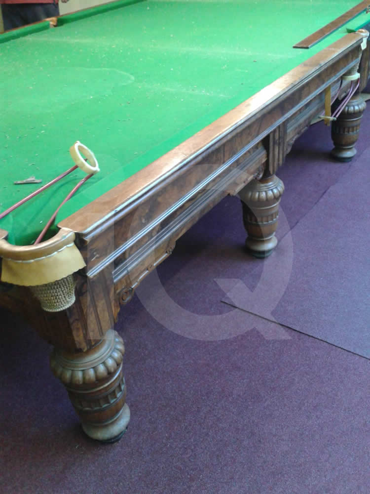 A Snooker Table recovered from Grey Cloth to Green