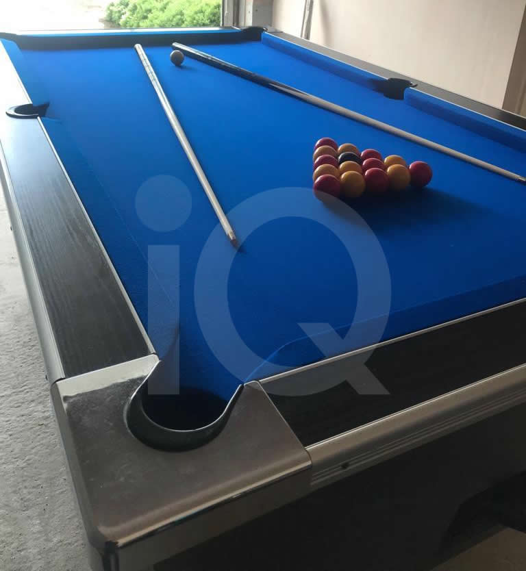 HGM Diplomat 7ft Pool Table Recovered in Blue Napped Wool Cloth