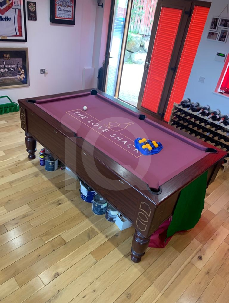 Recover of an DPT 7ft  Pool Table with Love Shack Custom Cloth After Image 17