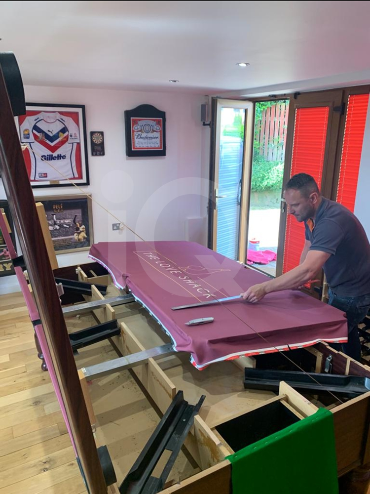 Recover of an DPT 7ft  Pool Table with Love Shack Custom Cloth Before Image 22