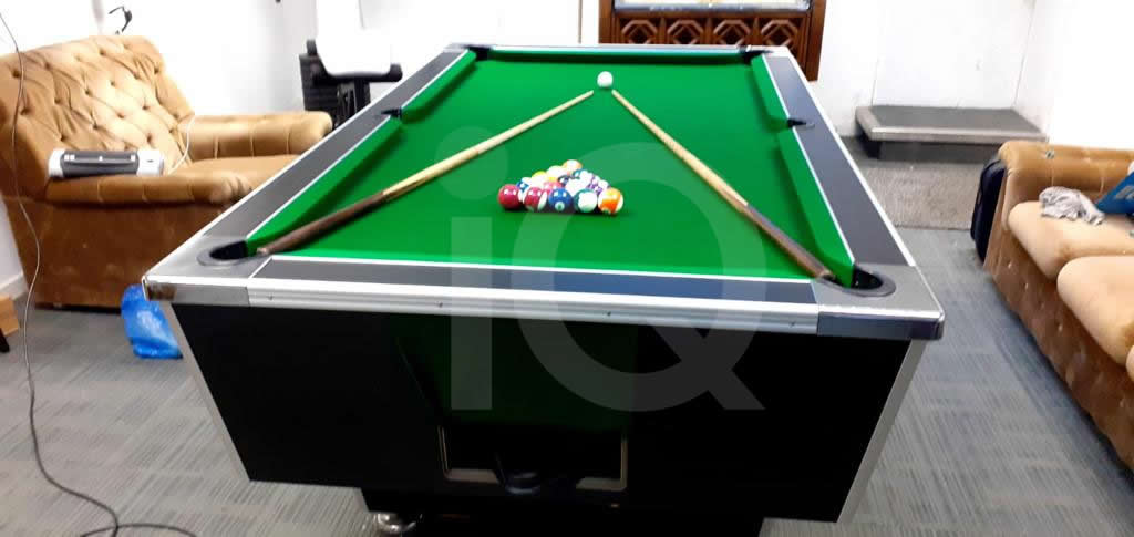 Recover of Green napped Hainsworth Cloth and Re Rubbering of a 7ft Older Style HGM Pool Table After Image 3