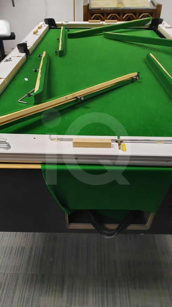 Recover of Green napped Hainsworth Cloth and Re Rubbering of a 7ft Older Style HGM Pool Table Before Image 10