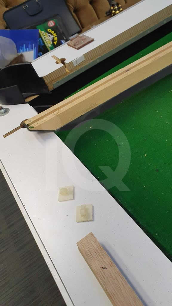 Recover of Green napped Hainsworth Cloth and Re Rubbering of a 7ft Older Style HGM Pool Table Before Image 4