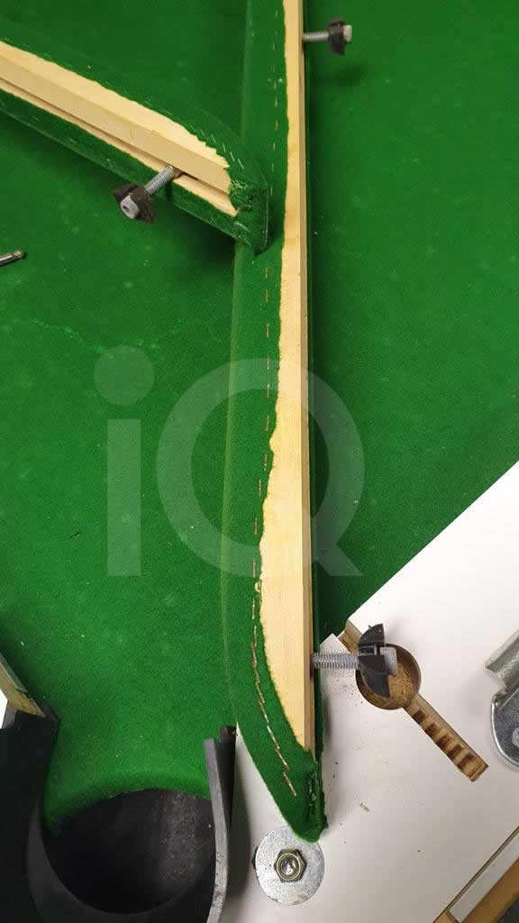 Recover of Green napped Hainsworth Cloth and Re Rubbering of a 7ft Older Style HGM Pool Table Before Image 9